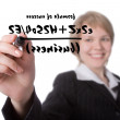 Young businesswoman write formula of suc — Stock Photo