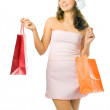 Shopping woman with package — Stock Photo