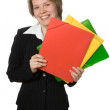 Businesswoman with folder fo rdocument — Stock Photo