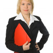 Business woman with red folder — Stock Photo