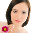 Stock Photo: Woman portrait with flower chrysanthemum