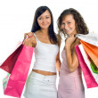 Shopping peauty girlfriend with colored — Zdjęcie stockowe