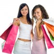 Shopping peauty girlfriend with colored — Stock Photo