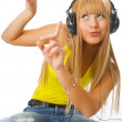 Young womlistening music — Stock Photo #1209761