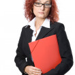 Business woman in glasses with red folde — Stock Photo