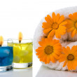 Stock Photo: Spa candle flower towel