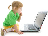 Child with laptop — Stock Photo