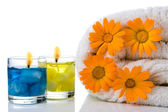 Spa candle flower towel — Stock Photo