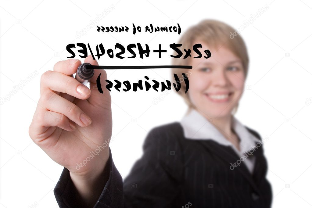 Young businesswoman write formula of success on a whiteboard — Stock Photo #1209133