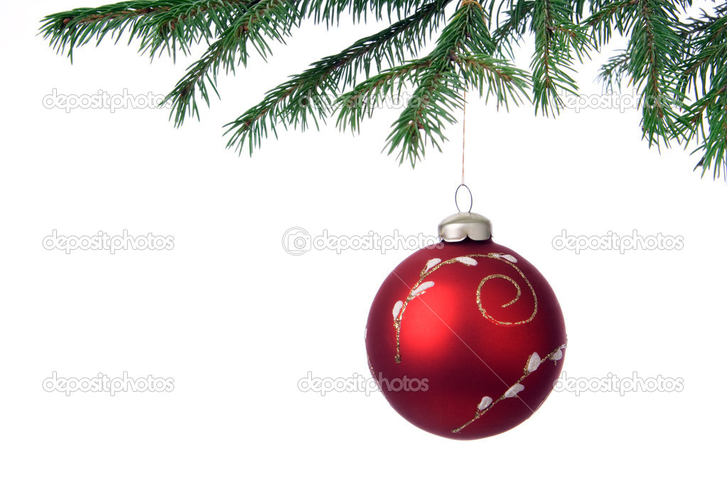Christmas decoration ball and fir branch over white — Stock Photo #1209466
