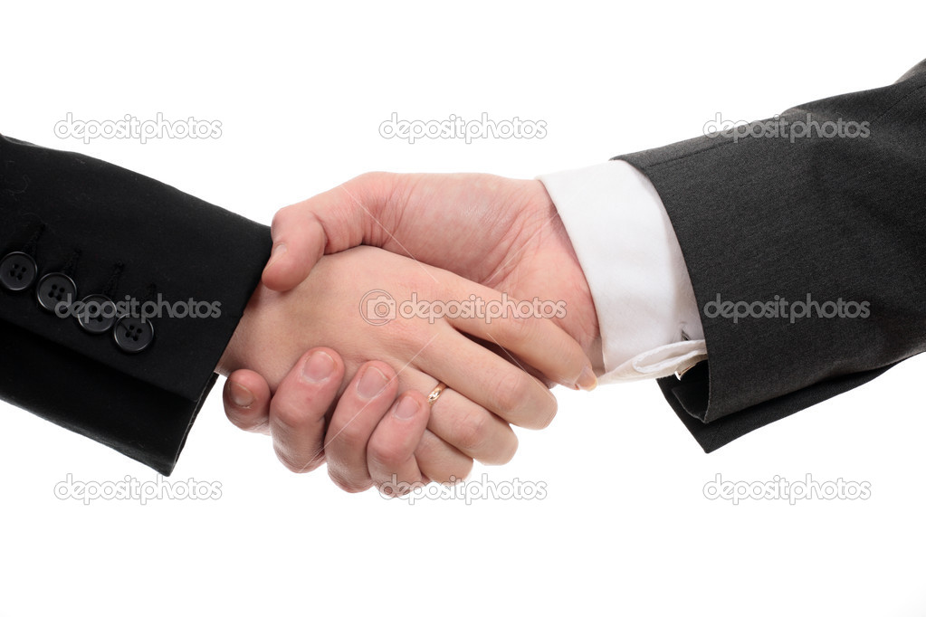 Business handshake deal on white background — Stock Photo #1209752