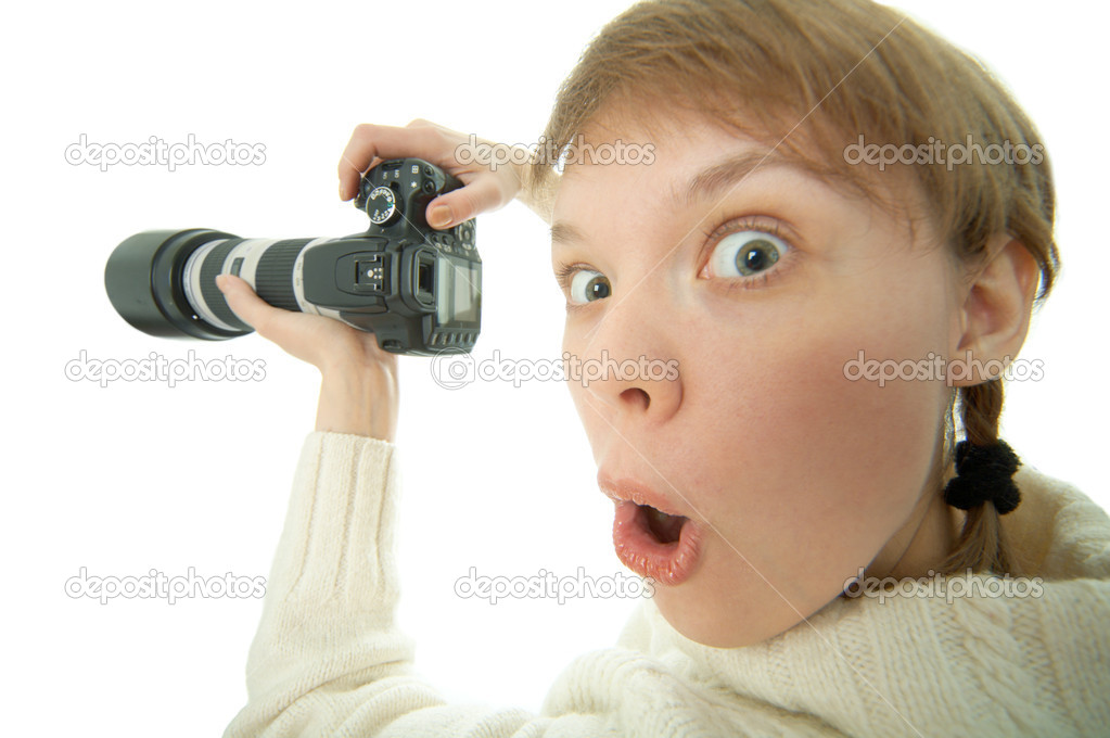 Woman photographer with photo camera on white background — Stock Photo #1209906