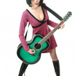 Beauty emo girl with guitar — Stock Photo #1210072