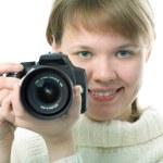 Woman photographer with photo camera — Stock Photo