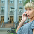 Beauty girl call to cellphone — Stock Photo