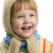 Little girl in warm sweater — Stok fotoğraf