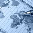 World map and pen — Stock Photo