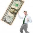 Businessman hold big size us dollar - Stock Photo