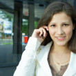 Business woman talk to cellphone — Stock Photo