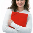 Beauty woman with folder — Stock Photo