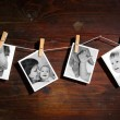 Pictures of a newborn and mother - Stockfoto