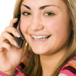 Attractive young woman calling by cellul — Stock Photo