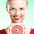 Young beauty woman with apple — Stock Photo #1212760