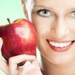 Young beauty woman with apple — Stock Photo #1212968