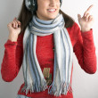 Stock Photo: Beauty young woman with headphones