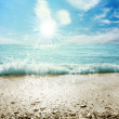 Stock Photo: Beach seand sky with clouds