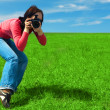 woman photographer — Stock Photo