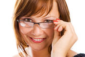 Close-up businesswoman in glasses — Stock Photo