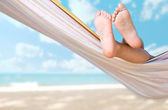 Child legs on hammock — Stock Photo