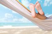 Child legs on hammock — Stock Photo