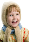 Little girl in warm sweater — Stock Photo
