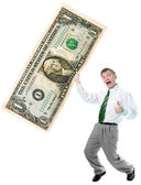 Businessman hold big size us dollar — Stock Photo