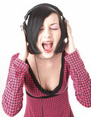 Emo girl in head phones — Stockfoto