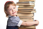 Little girl with book — Foto Stock