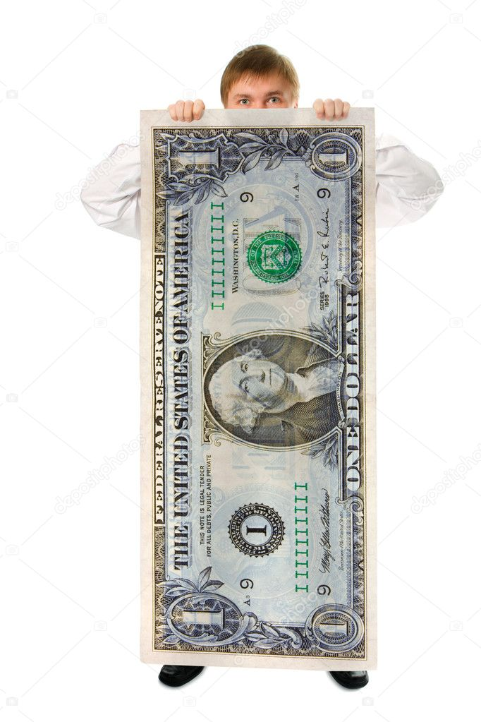 Businessman hold big size us dollar on white background — Stock Photo #1210086