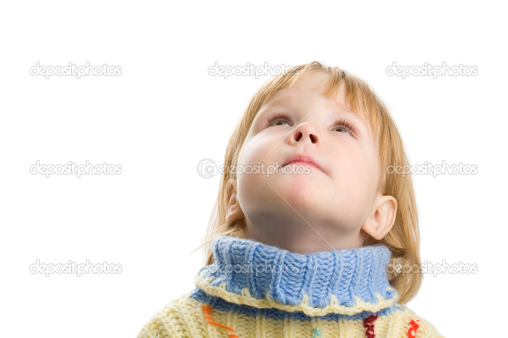 Little girl in warm sweater on white background — Stock Photo #1210407