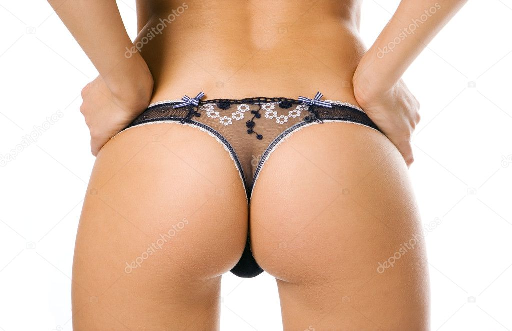 Beauty girl back in pants string isolated over white background — Stock Photo #1210513