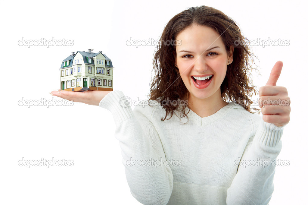 Young woman with little house in hand on white — Stock Photo #1211219
