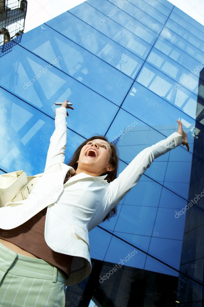 Success business woman on office building  Stock Photo #1211352