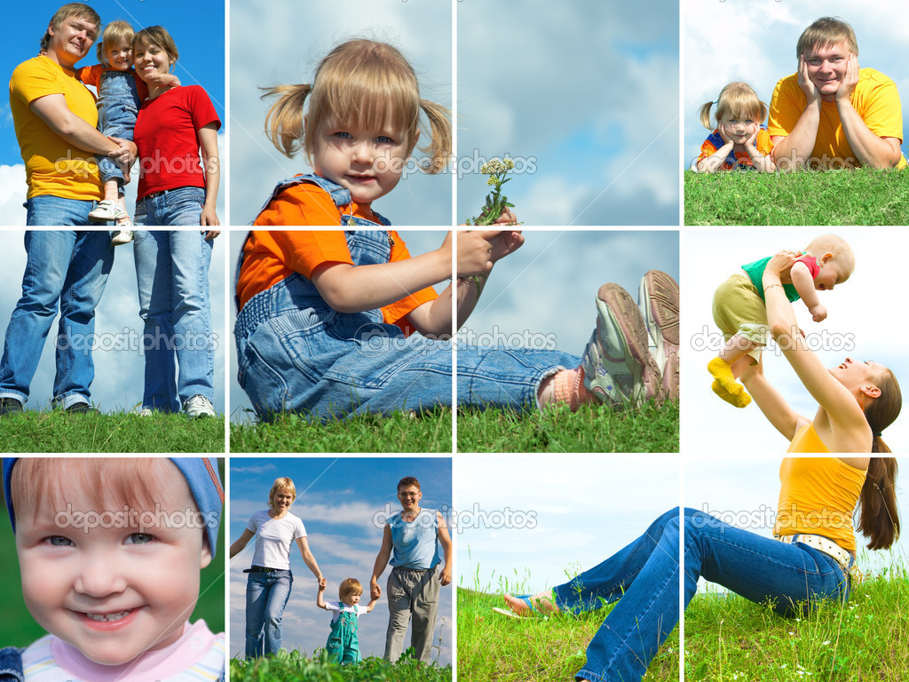 Happy family outdoors assembling frame  Stock Photo #1213419
