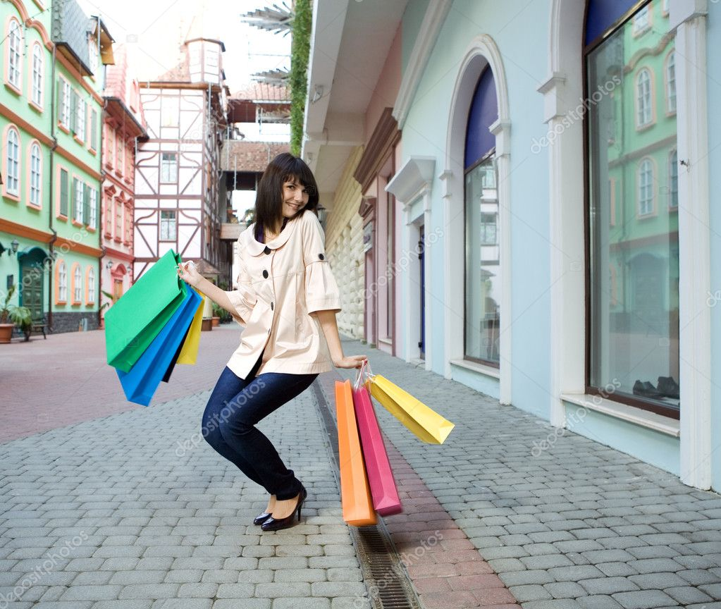 Lastest Young Woman With Shopping Bags Stock Photo  Image 25080940