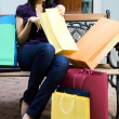 Beauty woman with shopping bag — Stock Photo