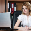 Beauty woman secretary in office — Stock Photo