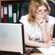Beauty woman secretary in office - Stock fotografie