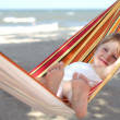 Child relaxing in a hammock — Stock Photo