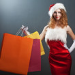 Christmas woman in beauty red dre — Stock Photo